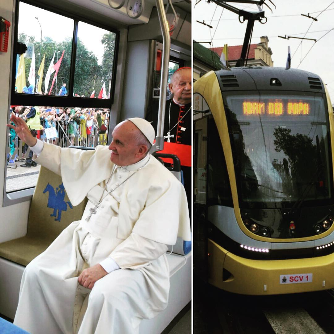 Pope Francis rides a Krakow tram to welcome pilgrims to World Youth Day Krakow 20166 (courtesy of his Instagram)