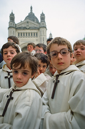 Altar boys in Lisieux, France following Pope John Paul II outdoor mass. June 1980. (phot. Chuck Fishman)