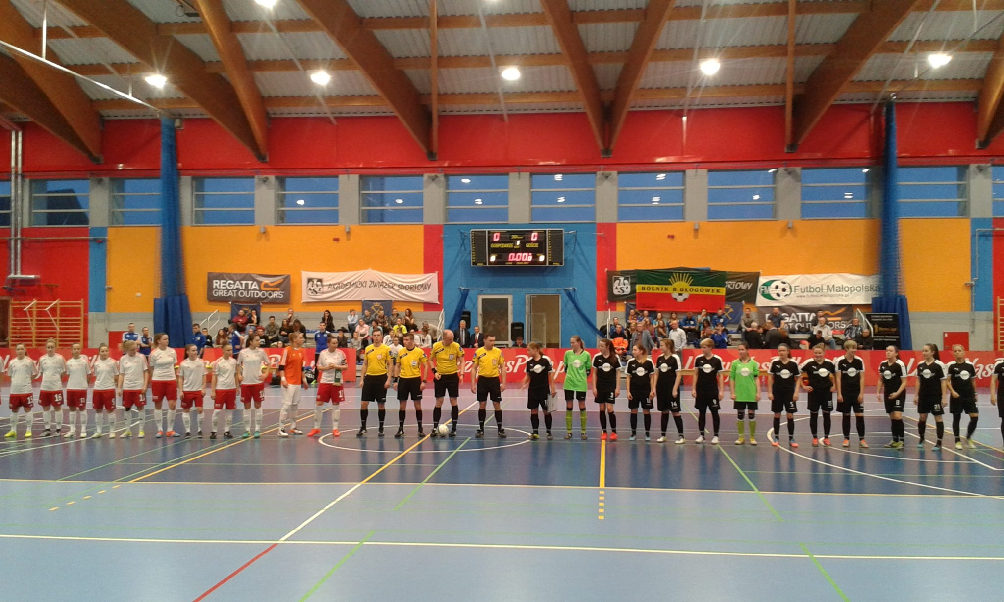 The UJ Krakow women's football team (left) dominated this season of Polish indoor football