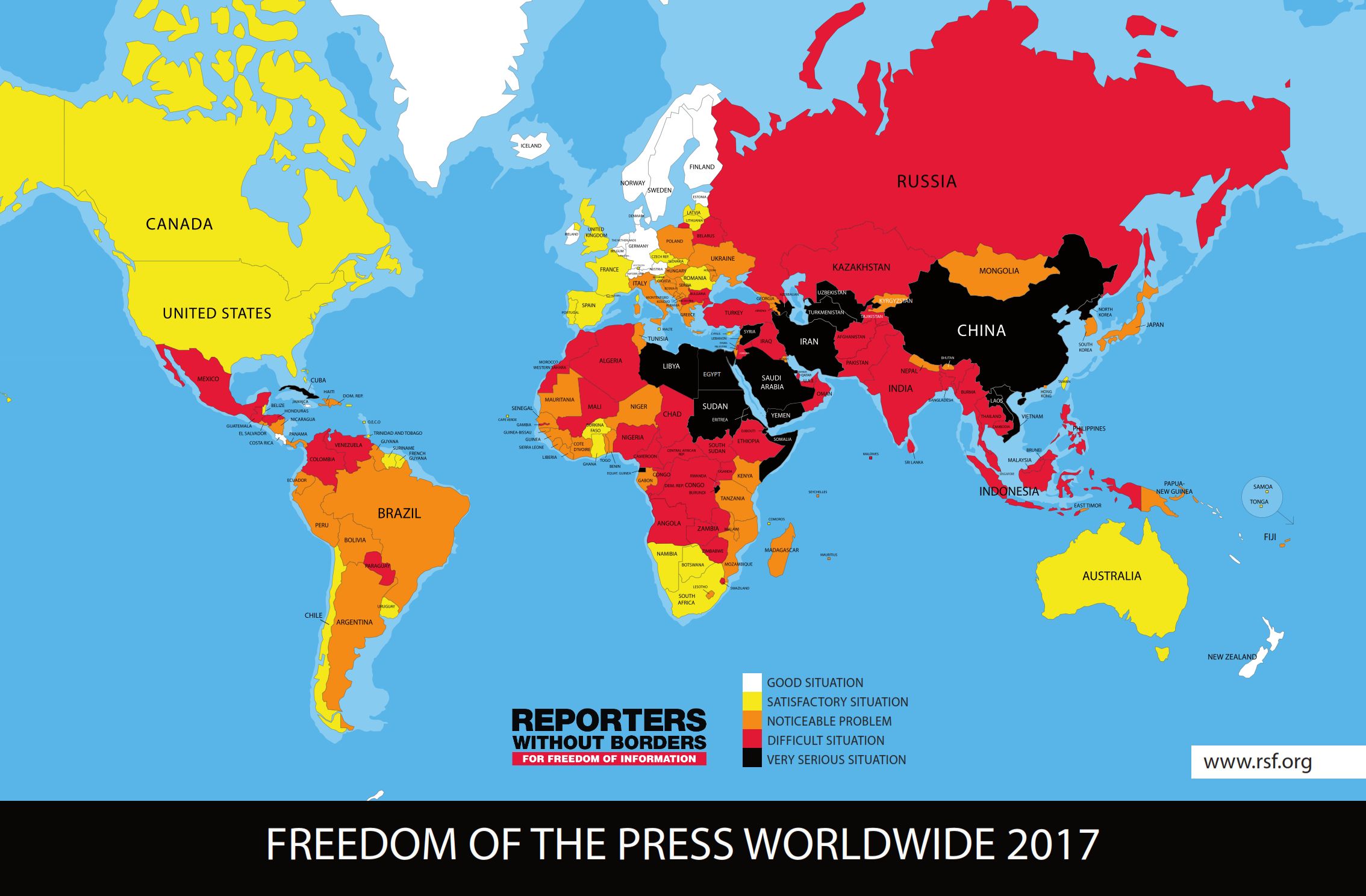 2017 World Press Freedom Index by Reporters Without Borders