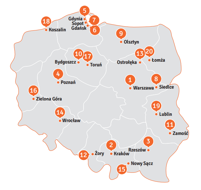 Poland's top 20 safest cities according to the 2017 report by Polityka Insight on behalf of the Schuman and Adenauer Foundations