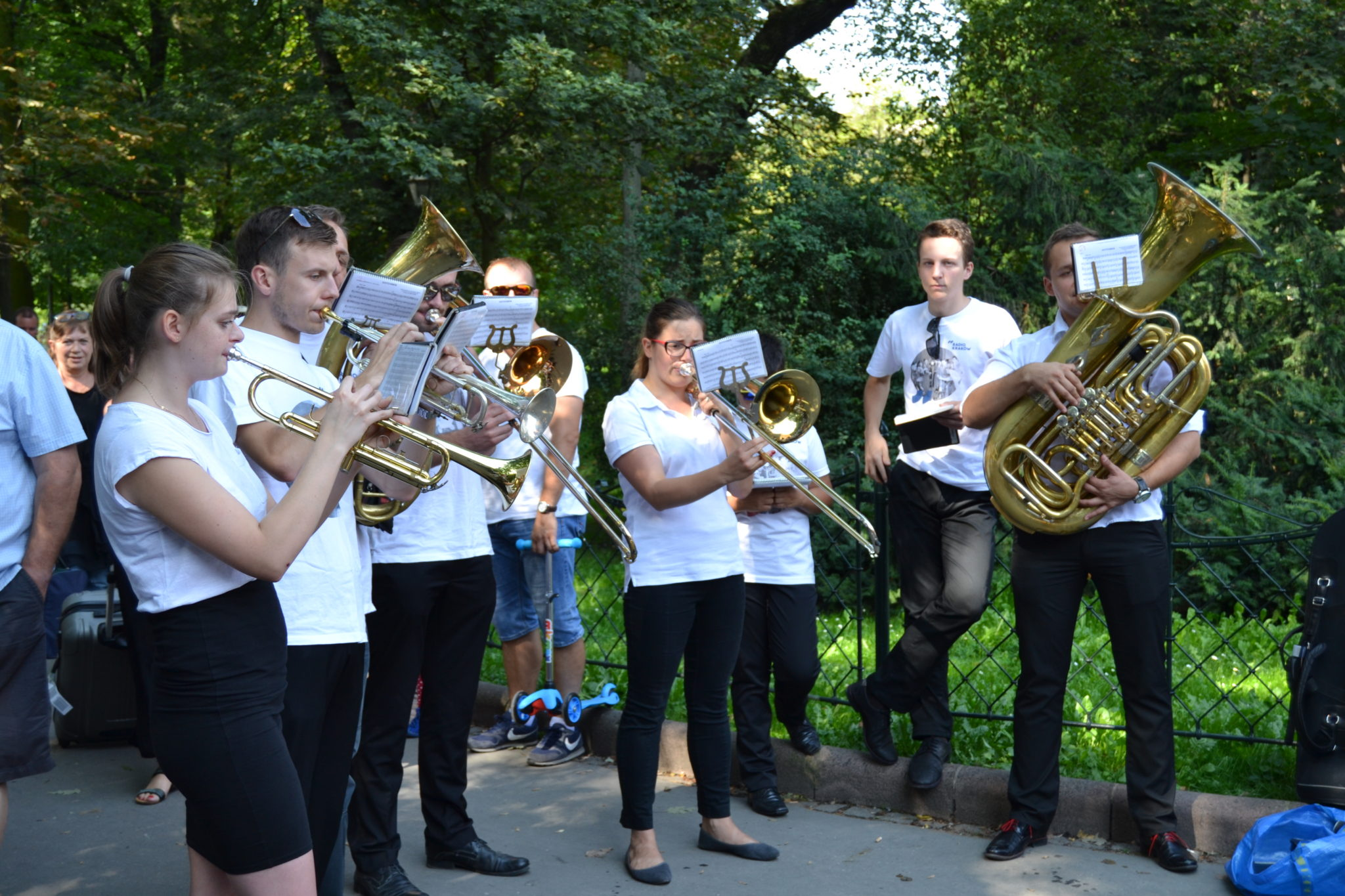 A small marching band filled the streets with John Philip Sousa melodies