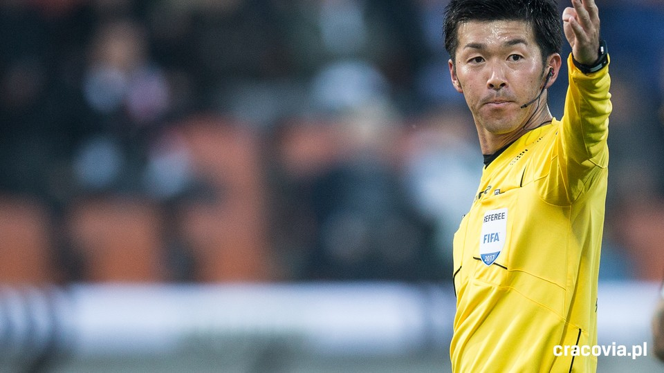 Japanese referee Yusuke Araki supervises the match between Cracovia and Sandecja Nowy Sacz
