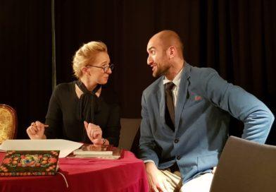 Miss Prism (Aleksandra Mrowczyk) receives some untimely news from Ernest (Kiril Denev)