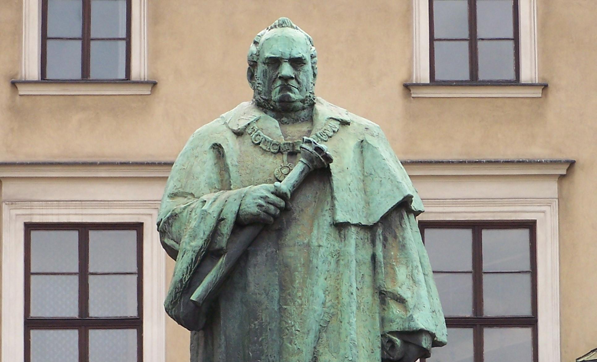 A statue of Józef Dietl, president of Krakow from 1866 to 1874, near Krakow City Hall on Plac Wszystkich Świętych
