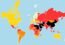 The 2018 World Press Freedom Index map released by Reporters Without Borders (click for interactive version)