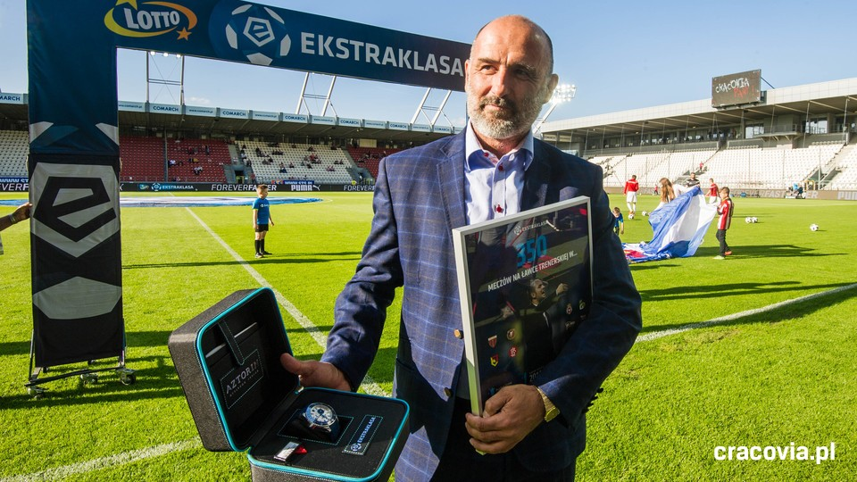 46-year-old Coach Michał Probierz celebrating his 350th Ekstraklasa game