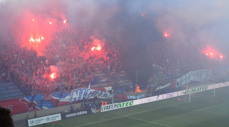 The Wisła celebration gets a little too heated (phot. by the author)