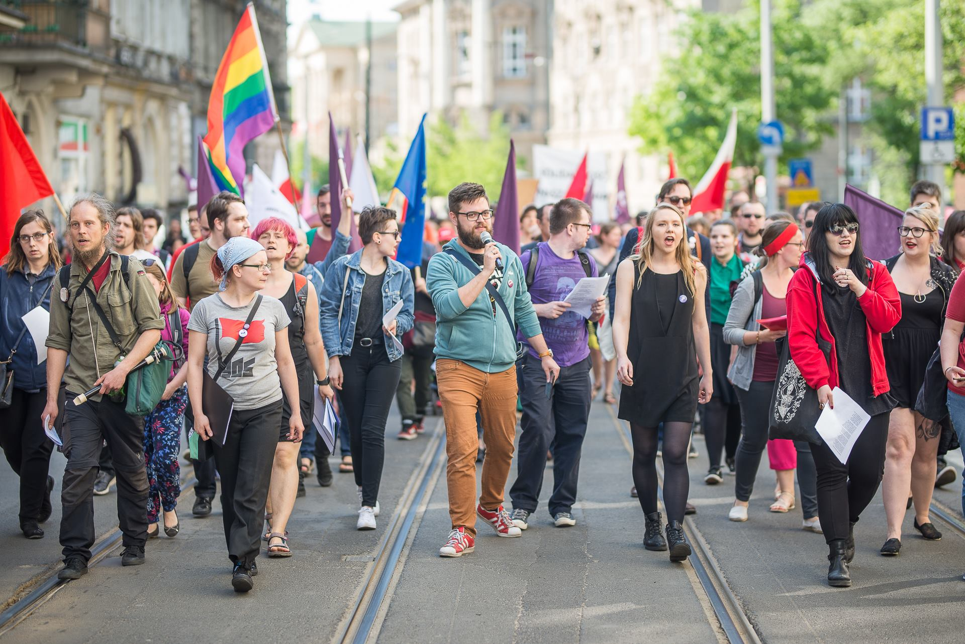 Pro-labor activists march in Poznań on Labor Day 2018 (phot. Razem Poznań)