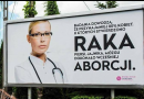A billboard stating false abortion claims, erected as a social experiment