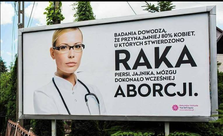 A billboard in Przeginia stating false abortion claims, erected as a social experiment (phot. Roman Graczyk)