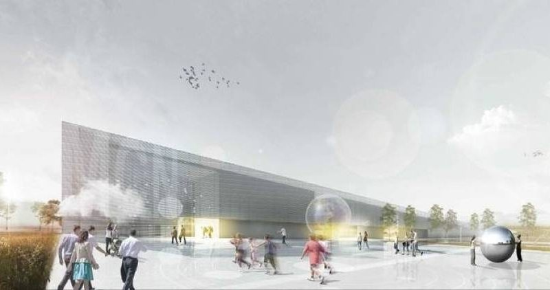 The future is lens flares: An artist's rendering of the future Cogiteon science center in Krakow