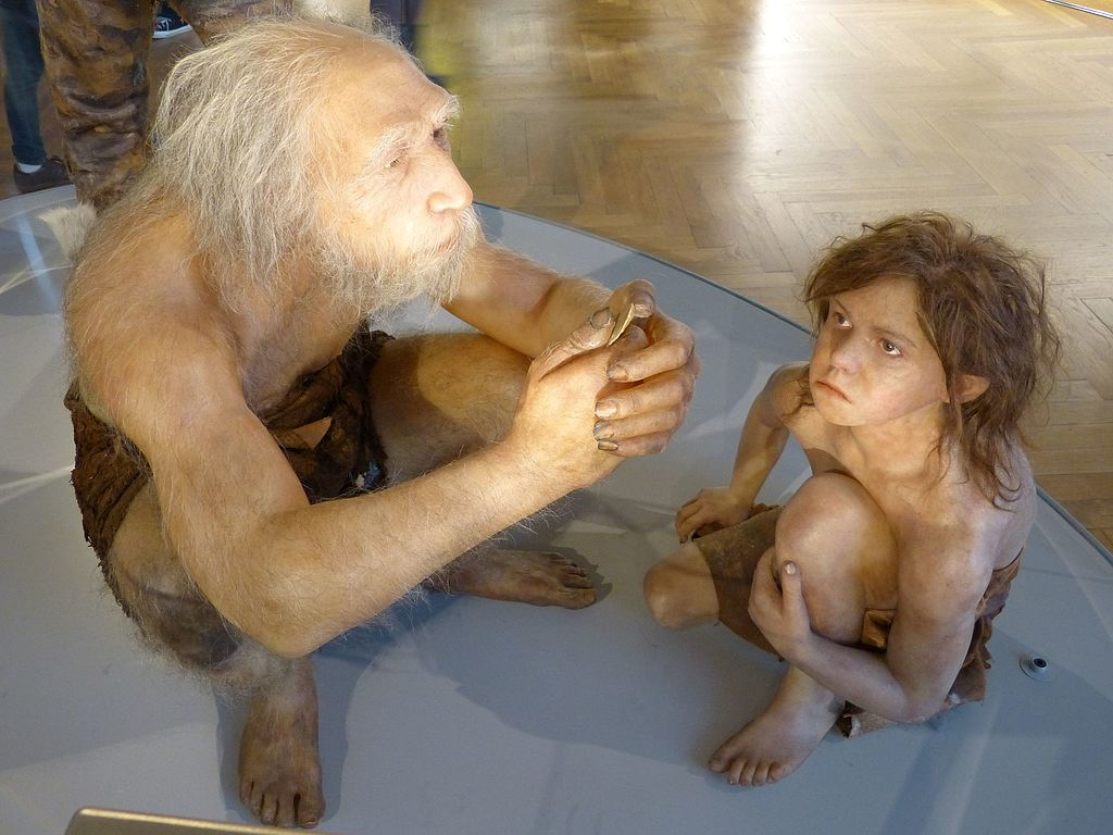 A model of Neanderthals at the Vienna Natural History Museum (phot. Wolfgang Sauber)