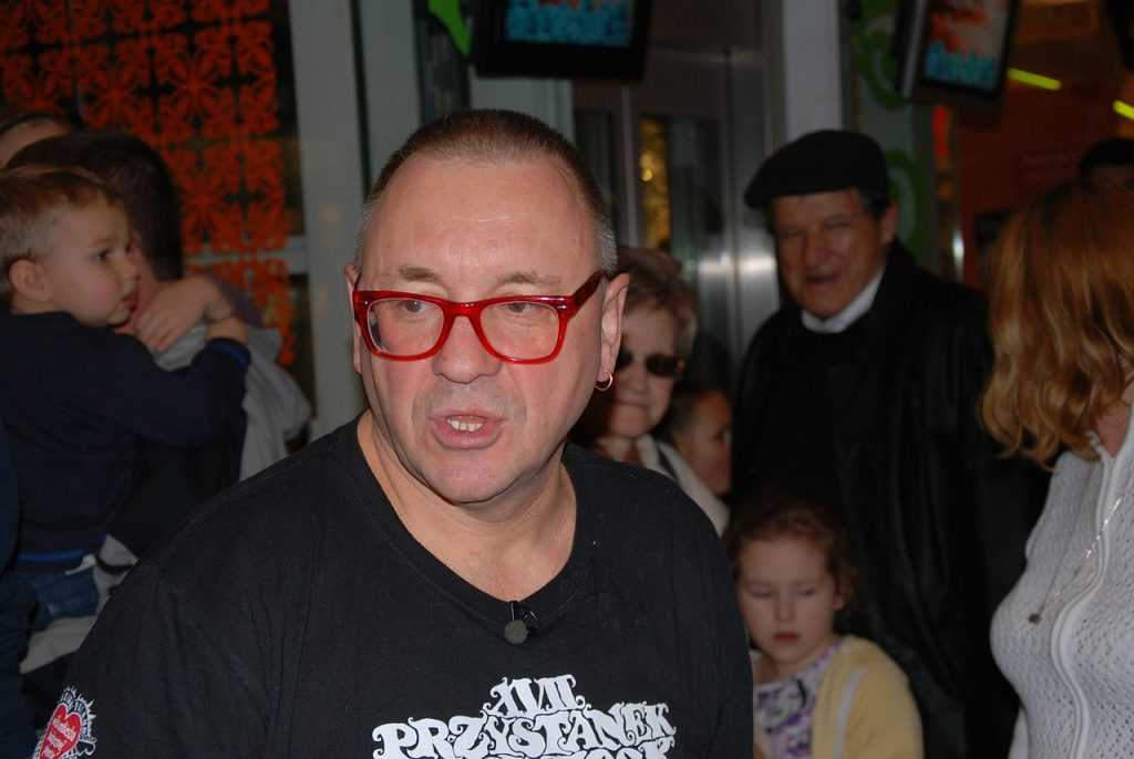 Jerzy Owsiak, pictured in 2011 wearing his iconic red-framed glasses (phot. Zorro2212)