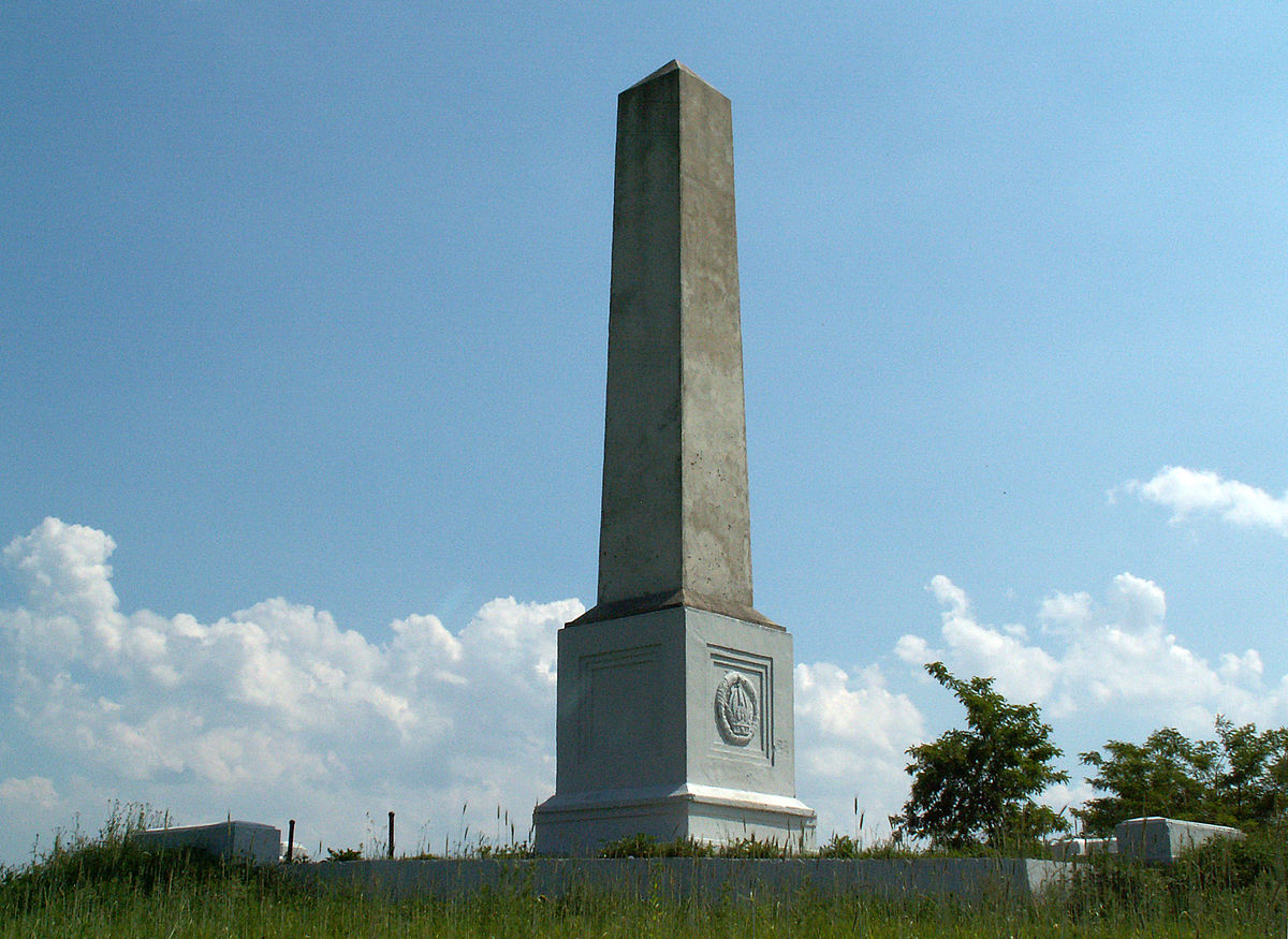 A monument to commemorating the 1914 repulsion of Russian troops in WWI currently standing on Wzgórze Kaim