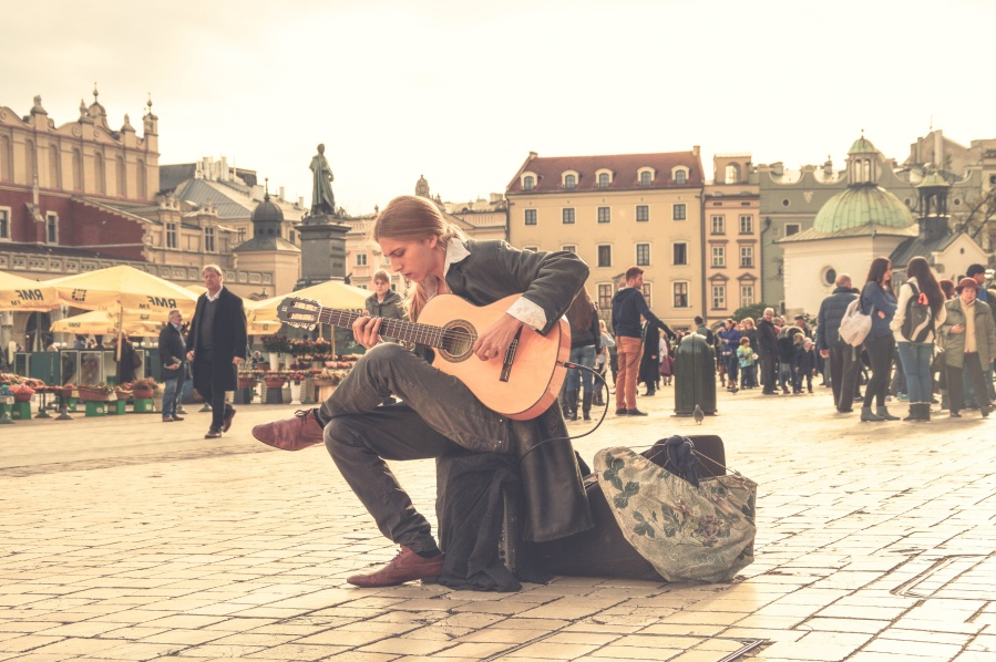 A street musician on Krakow's Main Square