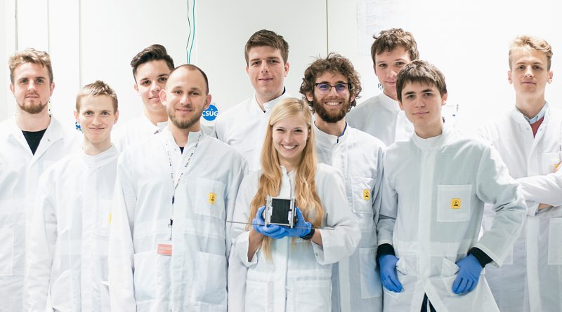 The team of Krakow students who designed the satellite